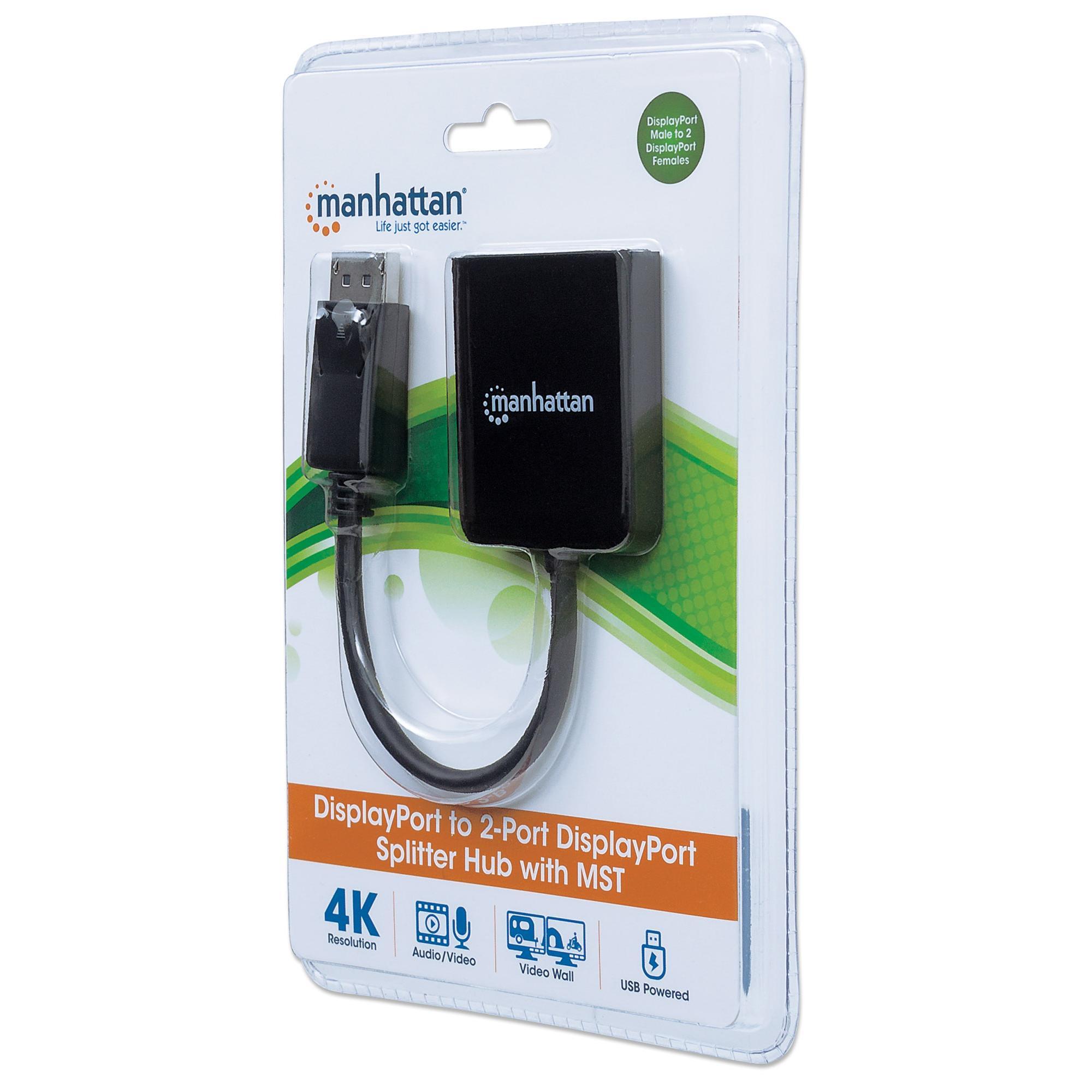 Splitter Hub DisplayPort a 2 porte DisplayPort con MST