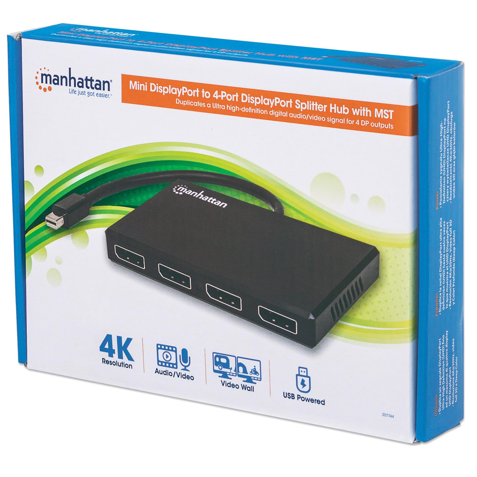 Splitter Hub Mini DisplayPort a 4 porte DisplayPort con MST