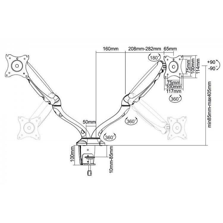 Supporto Molla a Gas da Scrivania per 2 Monitor 13''-27'' Nero