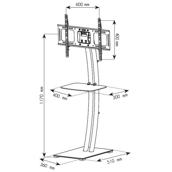 supporto a pavimento base rettangolare e mensola per tv