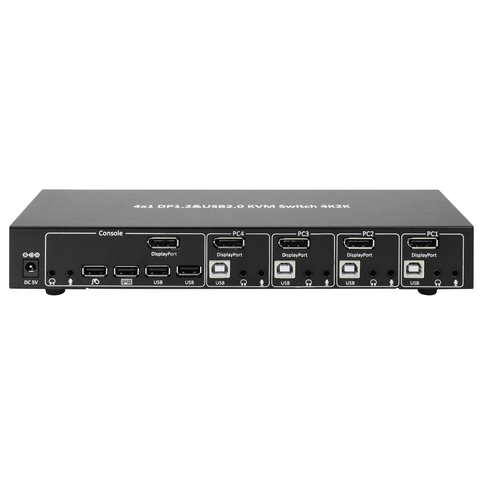 Switch KVM DisplayPort  1.2 e USB 2.0 4 porte con hub e audio