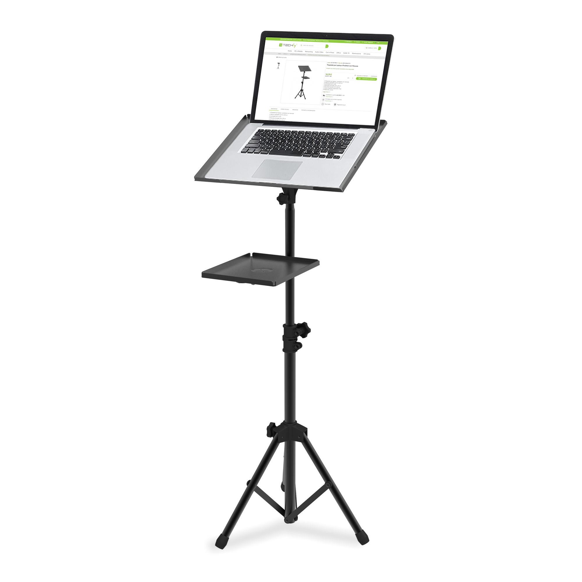 Treppiede per Laptop e Proiettori con Mensola aggiuntiva