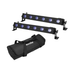 EUROLITE Set 2x LED BAR-6 QCL RGB+UV Bar + Soft-Bag
