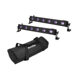 EUROLITE Set 2x LED BAR-6 UV Leiste + Soft-Bag