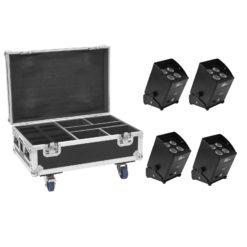 EUROLITE Set 4x AKKU IP UP-4 Plus HCL Spot WDMX + Case