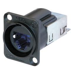 Ethercon CAT-6 D-size Connettore da pannello CAT6 a forma di D con custodia cromata nera