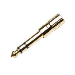 Adam Hall Connectors 7543 G AH - Adattatore jack stereo femmina da 3,5 mm per jack stereo maschio da 6,3 mm dorato, fornibile in sacchetto
