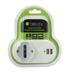 Adattatore Presa bipasso/Schuko 2 USB 1A con porta telefono
