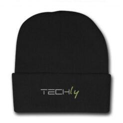 Berretto invernale a costine nero con logo Techly