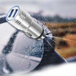 Caricatore da Auto in Alluminio 2x USB 10,5W Rompivetro di Emergenza