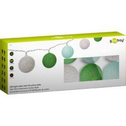 Luci LED Decorative a Batteria Palline Bianco/Verde di Cotone A++