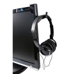 Porta Cuffie Adesivo Universale per Monitor e Scrivania Nero