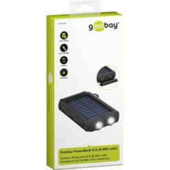 Powerbank Outdoor Energia Solare 8000 mAh con Torcia IP45 2xUSB Nero