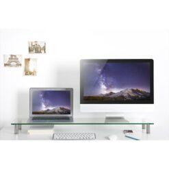 Stand da Scrivania in Vetro Trasparente per Monitr/Laptop