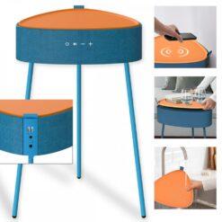 Tavolino con Altoparlanti Bluetooth 4.2 Ricarica Wireless USB Azzurro