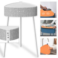 Tavolino con Altoparlanti Bluetooth 4.2 Ricarica Wireless USB Bianco