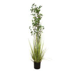 EUROPALMS Evergreen shrub with grass, artificial plant, 182cm